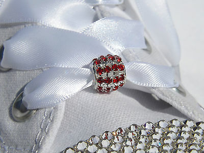 Stunning Pair of Red Crystal Toggle Shoelace Charms -Great on Satin Ribbon Laces
