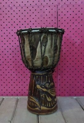 HANDMADE CARVED INTO WOOD BONGO DRUM GOAT SKIN PROFESSIONAL PERCUSSION 30cmH