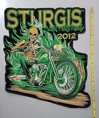 Large Back Patch Embroidered; Skull Flame Bike, Sturgis 2012, Black Hills Rally
