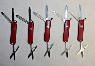 Lot of 5 Complete Victorinox Classic Swiss Army Knives - All Red -No Logo