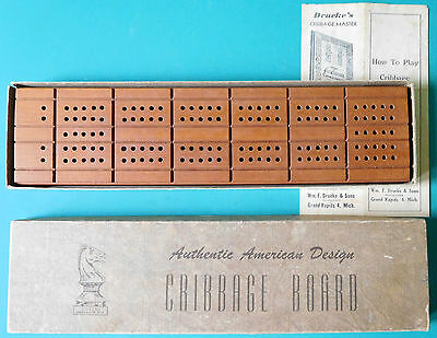 Vintage Drueke's Natural Finish Hardwood Cribbage Board w/ 6 pegs