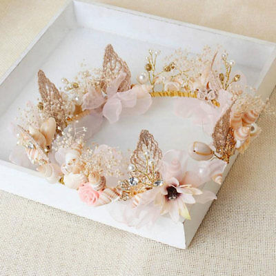 Bridal gold flower and shell hair wreath