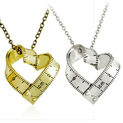 Fashion Alloy Love Measure Ruler Necklace Metal Pendant Unisex Jewelry Gifts