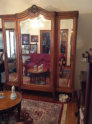Large Antique French Walnut 3 Door Armoire Wardrobe Cabinet