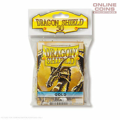 DRAGON SHIELD - Classic Standard Card Sleeves GOLD Pack of 50 #AT-10106