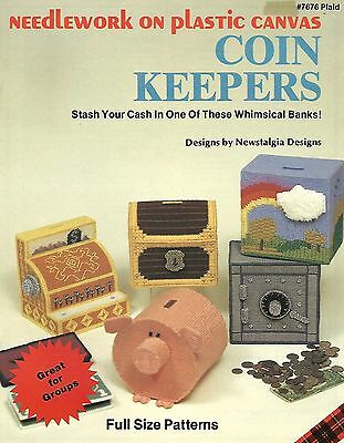 Coin Keepers Plastic Canvas Instruction Patterns Kids Banks Plaid #7675 NEW