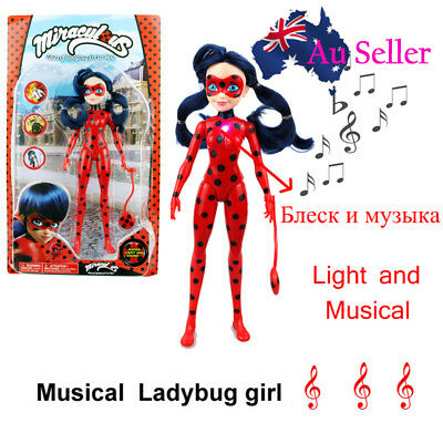 Miraculous Ladybug Girl Doll Action Figure Musical Light Movable Joints Toy 27CM