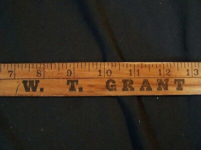 Vintage Early W. T. GRANT'S DEPARTMENT STORE Wooden Yardstick c1950 Advertising