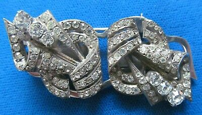 Duette Antique Vintage Art Deco Clear Stones Dress Clips From Early 30-s.