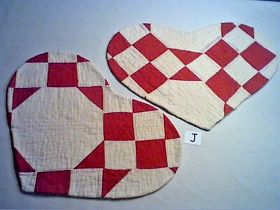 "LOT 2 HEART SHAPED TABLE MATS MADE FROM OLD VINTAGE PATCHWORK QUILT 17""x12"" (J)"