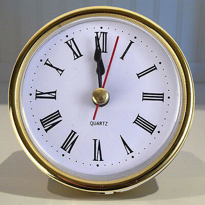 """2-1/2"""" Easy to Use. QUARTZ CLOCK FIT-UP/Insert, Gold Trim, Roman Numeral Gift"""