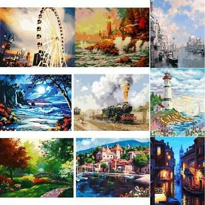 AU DIY Canvas Digital Oil Painting Kit Paint by Numbers No Frame Decor 20x16