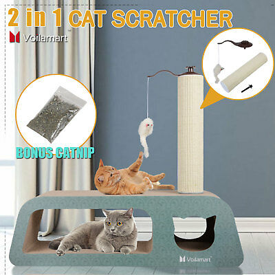 Cat Scratcher Post Tree Kitten Claw Scratching Pole Toy Furniture Gym Pet Catnip