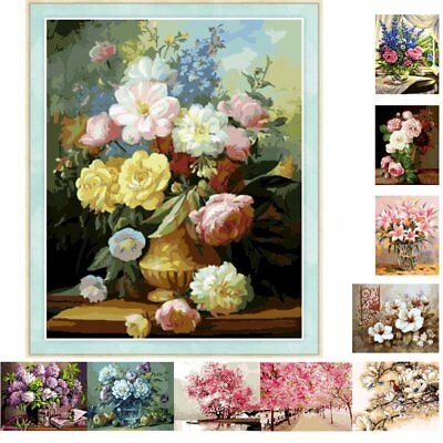 Blossoms DIY Canvas Digital Oil Painting Kits Paint by Numbers Home Wall Decor