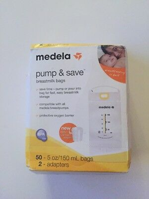 Medela Pump & Save Breastmilk Bags with easy connect adapters 50 pack - NEW