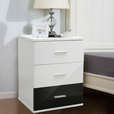 Chest of 3 Drawer Modern High Gloss Bedside Cabinet Lamp Side Nightstand Table