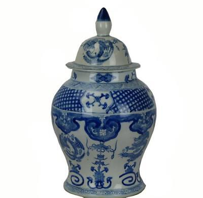 Vintage Large Blue and White Jar with Lid