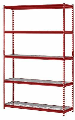 "Muscle Rack UR184872-R 5-Shelf Steel Shelving Unit, 48"" W x 72"" H x 18"" L, Red"