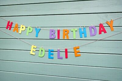 PASTEL/BRIGHT Personalised RAINBOW Happy Birthday Bunting/Banner/Decor