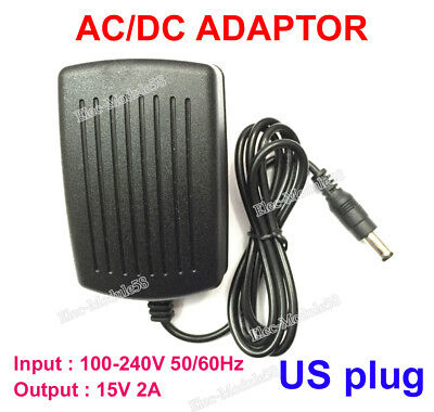 AC-DC 15V 2A 110-240V Power Supply Adapter 2000mA Charger 5.5mm*2.1~2.5mm US