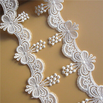 3 M Flower Embroidered Lace Edge Trim Ribbon Wedding Applique DIY Sewing Craft