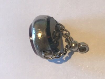 Antique Victorian Double Sterling Silver Swivel Pocket Watch Fob Charm Pendant