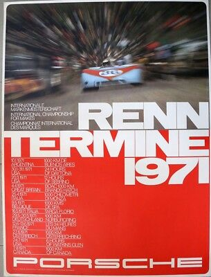 PORSCHE 1971 RENN TERMINE International Championship for Makes Poster Original