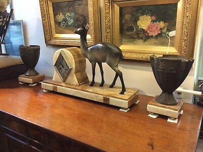 Art Deco Bronze And Marble Clock Garniture Set