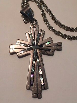 BEAUTIFUL Vintage Sterling Silver .925 MOP cross pendant and chain Large 26 gram