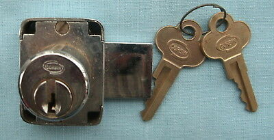 Chrome Corbin  slide bolt lock and key 1 & 1/4  by 1 & 1/2 inches
