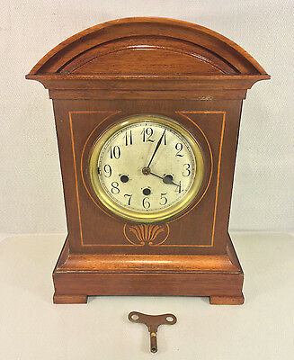 Antique Junghans Clock w/ Inlaid Wood Case B07 Mvmt Running Striking Chiming
