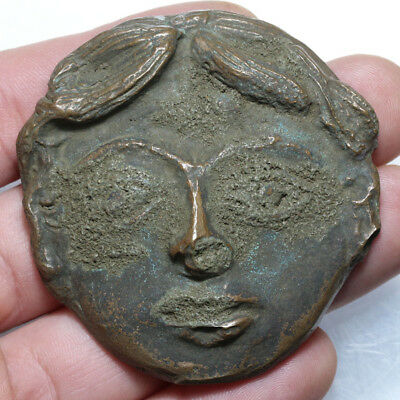 A Nice Roman Bronze Young Male Face Ornament Early 1st Century A.D-Large Size