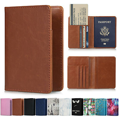 Leather Passport Case Holder RFID Blocking Travel ID Credit Card Wallet Cover