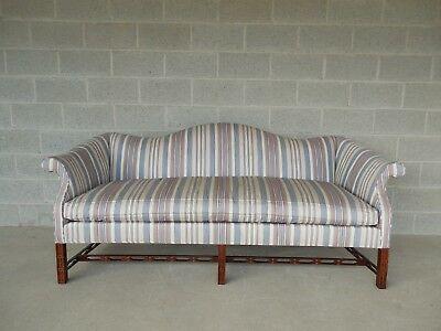 """Hickory Chair Chinese Chippendale Style Camel Back Sofa 81""""W"""