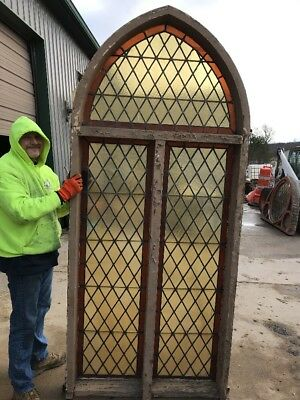 An Gothic Antique Diamond Pattern Arch Window 33 X 97