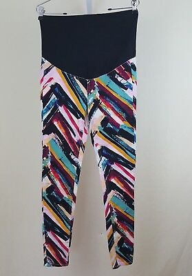 H&M Mama Womens Chevron Abstract Striped Maternity Leggings Jeggings Pants Sz 8