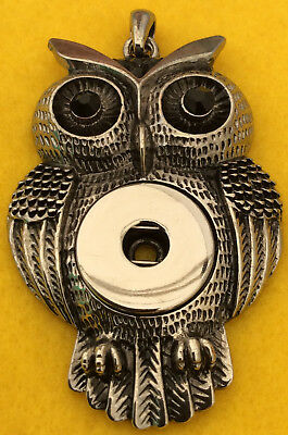 Antique Style Black Sets Owl Pendant Fit Ginger Snaps Style Snap Buttons