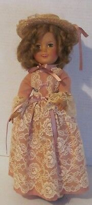 """GORGEOUS 1950's FLIRTY EYES SHIRLEY TEMPLE 17"""" DOLL pink DRESS ST-17-1 NICE WOW"""
