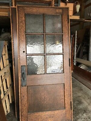 An Antique Oak Six Light French Passage Door With Jam 36 inch