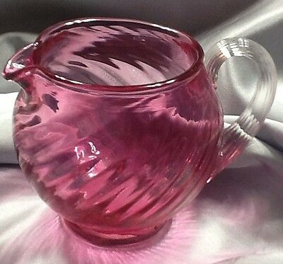 Vintage PILGRIM Hand Blown Swirl CRANBERRY RED Glass Pitcher With Clear Handle