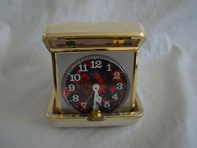 Vintage Bulova Folding Alarm Clock in Case Red and Black Face Design  21807