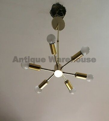 6 Arms Solid Brass Mid Century Chandelier Light Fixture Ceiling Lamp Decorative