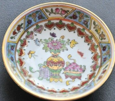"Vintage Hand-Painted Chinese Porcelain Small Dish Plate 4"" Oriental"