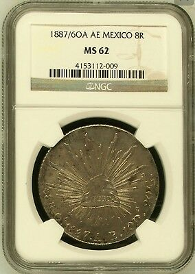 Rare 1887/6 Oa Ae Mexico  8 Reales Overdate Ngc Ms62