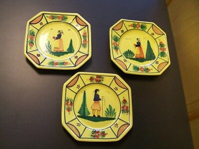 "3 HB Quimper 7 5/8""  Luncheon Plates. Yellow Soleil 2 Woman 1 Man *Free S&H*"