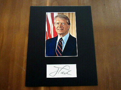 Jimmy Carter 39Th President Usa Signed Auto Vintage Matted Photo Cut Jsa
