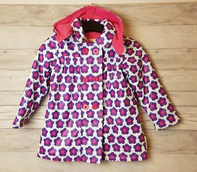 Beauty And The Bib Pink Purple Flower Floral Fleece Lined Coat Size 5-6 Years