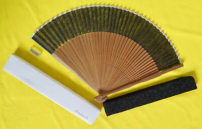 Maisendo fan, vintage, silk, bamboo, silk sleeve, and original box from 2003
