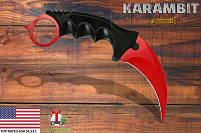 Tactical Combat Karambit Neck Knife Fixed Blade Survival Hunting Bowie Full Tang