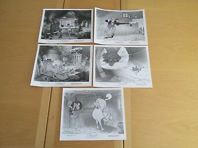 "Set 5 8X10 Offical Disney Still Photographs ""The Aristocats"" Black and White"